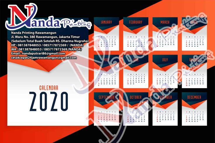 2020 new year calendar template design in orange theme